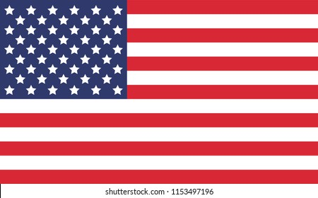 National United State of America (USA) flag. Vector illustration.