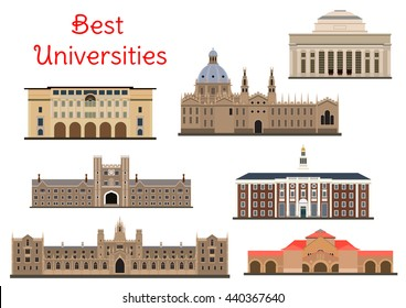 National universities for education and architecture design usage. Flat buildings of Oxford, Harvard and Cambridge, Princeton, Yale and Stanford Universities and California Institute of Technology