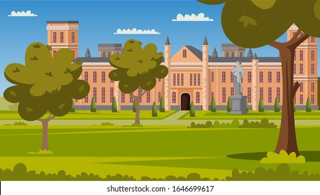 National university facade and green campus park scene. Academy or college building exterior. Empty front yard with grass and trees. Lawn for students rest during break. Vector cartoon illustration