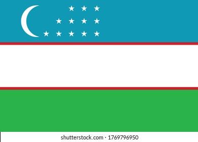National Uzbekistan flag, official colors and proportion correctly. National Uzbekistan flag. Vector illustration. EPS10. Uzbekistan flag vector icon, simple, flat design for web or mobile app.