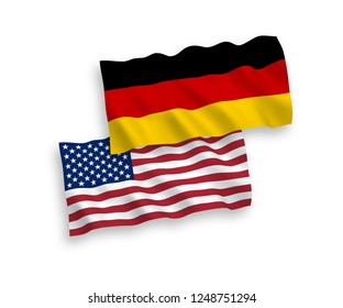 National vector fabric wave flags of Germany and USA isolated on white background.