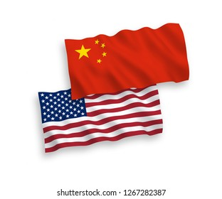 National vector fabric wave flags of China and America isolated on white background.