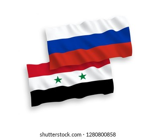 National vector fabric wave flags of Syria and Russia isolated on white background.