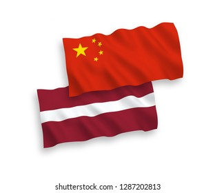 National vector fabric wave flags of Latvia and China isolated on white background
