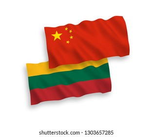 National vector fabric wave flags of Lithuania and China isolated on white background 1 to 2 proportion.