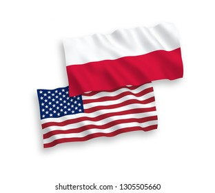 National vector fabric wave flags of Poland and America isolated on white background. 1 to 2 proportion.