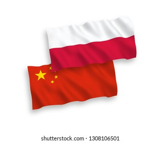 National vector fabric wave flags of Poland and China isolated on white background 1 to 2 proportion.