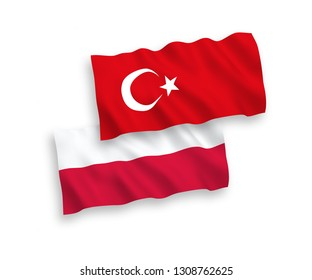 National vector fabric wave flags of Turkey and Poland isolated on white background. 1 to 2 proportion.