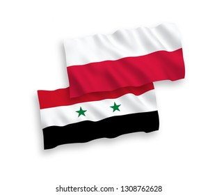 National vector fabric wave flags of Poland and Syria isolated on white background. 1 to 2 proportion.