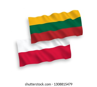 National vector fabric wave flags of Lithuania and Poland isolated on white background. 1 to 2 proportion.