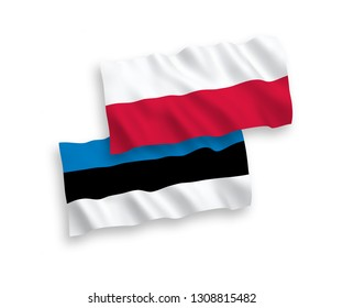 National vector fabric wave flags of Poland and Estonia isolated on white background. 1 to 2 proportion.