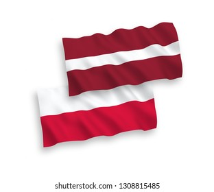 National vector fabric wave flags of Latvia and Poland isolated on white background. 1 to 2 proportion.