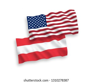 National vector fabric wave flags of Austria and America isolated on white background. 1 to 2 proportion.