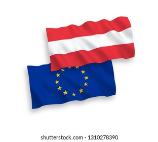 National vector fabric wave flags of Austria and European Union isolated on white background. 1 to 2 proportion.