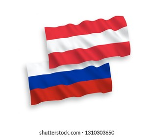 National vector fabric wave flags of Austria and Russia isolated on white background. 1 to 2 proportion.