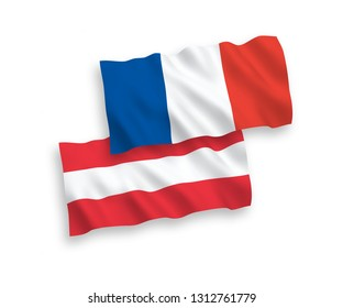 National vector fabric wave flags of France and Austria isolated on white background. 1 to 2 proportion.