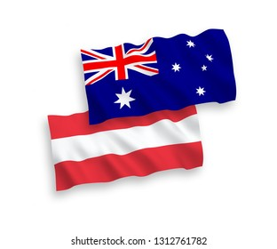 National vector fabric wave flags of Australia and Austria isolated on white background. 1 to 2 proportion.