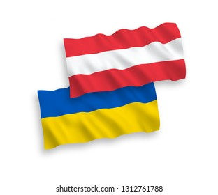 National vector fabric wave flags of Austria and Ukraine isolated on white background. 1 to 2 proportion.
