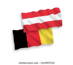 National vector fabric wave flags of Austria and Belgium isolated on white background. 1 to 2 proportion.