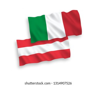 National vector fabric wave flags of Italy and Austria isolated on white background. 1 to 2 proportion.