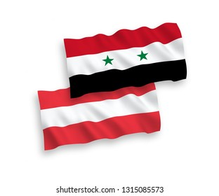 National vector fabric wave flags of Austria and Syria isolated on white background. 1 to 2 proportion.