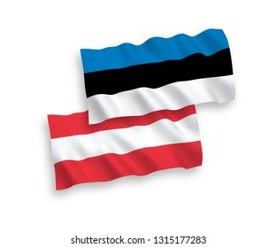 National vector fabric wave flags of Austria and Estonia isolated on white background. 1 to 2 proportion.