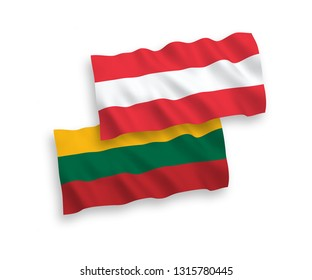 National vector fabric wave flags of Lithuania and Austria isolated on white background. 1 to 2 proportion.