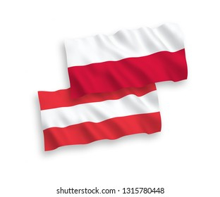 National vector fabric wave flags of Austria and Poland isolated on white background. 1 to 2 proportion.