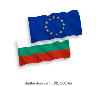 National vector fabric wave flags of Bulgaria and European Union isolated on white background. 1 to 2 proportion.