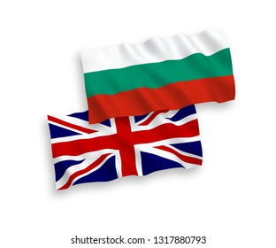 National vector fabric wave flags of Bulgaria and Great Britain isolated on white background. 1 to 2 proportion.