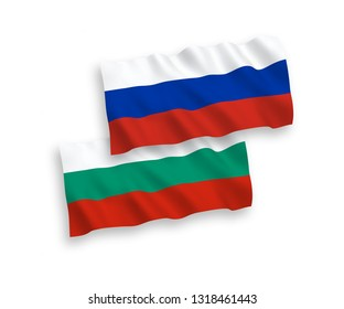 National vector fabric wave flags of Bulgaria and Russia isolated on white background. 1 to 2 proportion.