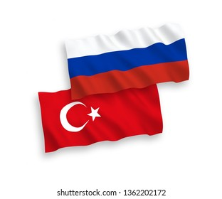 National vector fabric wave flags of Turkey and Russia isolated on white background. 1 to 2 proportion.