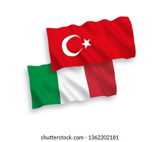 National vector fabric wave flags of Turkey and Italy isolated on white background. 1 to 2 proportion.
