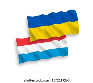 National vector fabric wave flags of Luxembourg and Ukraine isolated on white background. 1 to 2 proportion.