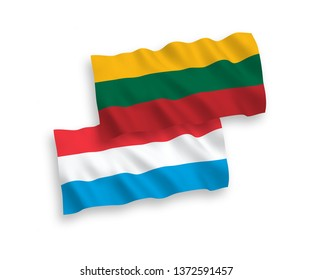 National vector fabric wave flags of Lithuania and Luxembourg isolated on white background. 1 to 2 proportion.