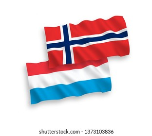 National vector fabric wave flags of Norway and Luxembourg isolated on white background. 1 to 2 proportion.