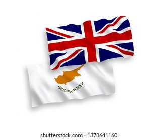 National vector fabric wave flags of Great Britain and Cyprus isolated on white background. 1 to 2 proportion.