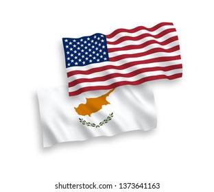 National vector fabric wave flags of Cyprus and USA isolated on white background. 1 to 2 proportion.