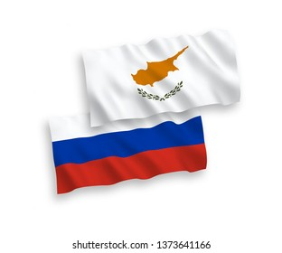 National vector fabric wave flags of Cyprus and Russia isolated on white background. 1 to 2 proportion.