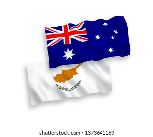 National vector fabric wave flags of Australia and Cyprus isolated on white background. 1 to 2 proportion.
