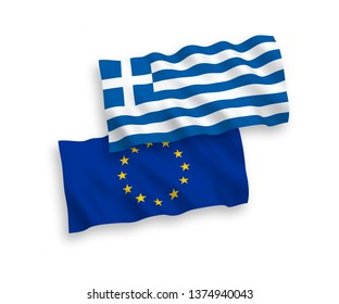 National vector fabric wave flags of European Union and Greece isolated on white background. 1 to 2 proportion.