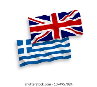National vector fabric wave flags of Great Britain and Greece isolated on white background. 1 to 2 proportion.