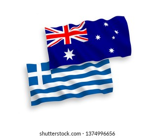 National vector fabric wave flags of Australia and Greece isolated on white background. 1 to 2 proportion.
