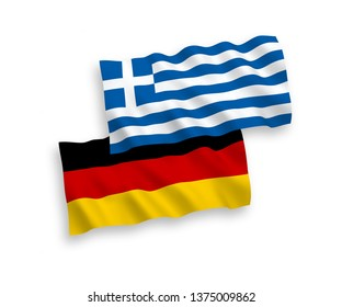 National Vector Fabric Wave Flags of Germany and Greece Isolated on White Background. 1 to 2 proportion.