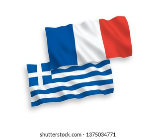 National vector fabric wave flags of France and Greece isolated on white background. 1 to 2 proportion.