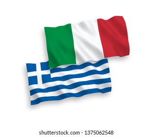 National vector fabric wave flags of Italy and Greece isolated on white background. 1 to 2 proportion.