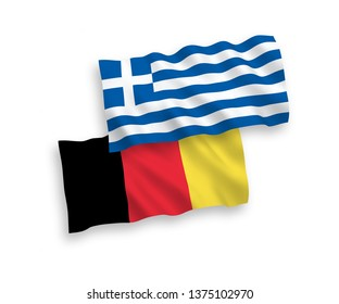 National vector fabric wave flags of Belgium and Greece isolated on white background. 1 to 2 proportion.