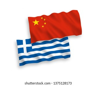 National vector fabric wave flags of Greece and China isolated on white background 1 to 2 proportion.