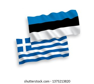 National vector fabric wave flags of Greece and Estonia isolated on white background. 1 to 2 proportion.