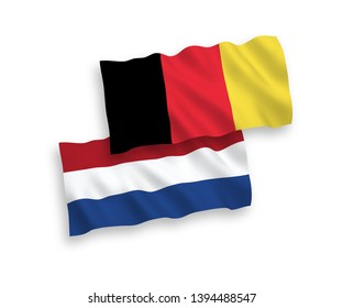 National vector fabric wave flags of Netherlands and Belgium isolated on white background. 1 to 2 proportion.